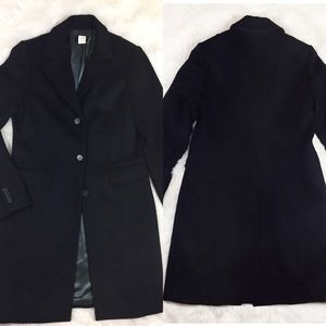 J. CREW WOOL TRENCH COAL TALL SOLID BLACK